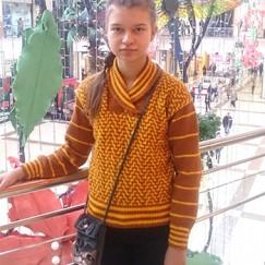 Пуловер для внучки «ленивым жаккардом» от Елены Ивановой