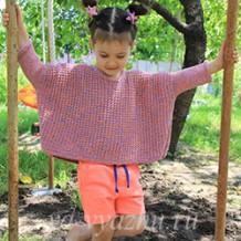 Джемпер-оверсайз для девочки с использованием укороченных рядов