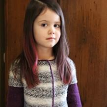 Двухцветная кофточка с круглой кокеткой для девочки 4-х лет