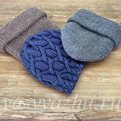 Себе и дочкам: три женские шапочки спицами на зиму